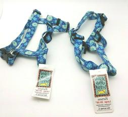 "2x Yellow Dog Design Large Dog Harness 20-28"" Teal Flowers N"