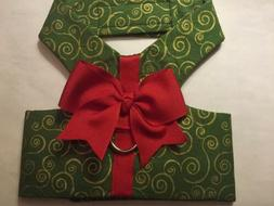 Green Gold Red Christmas Dog Handmade Harness  XXXS