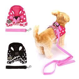 Adjustable Pet Dog Cat Polka Dot Harness Walking Collar Stra