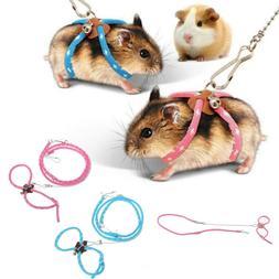 Adjustable Pet Rat Mouse Hamster Harness Rope Lead Leash wit