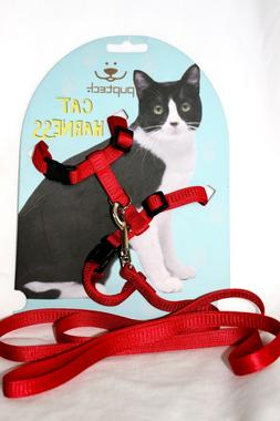 Adjustable Red Cat Harness Nylon Strap Collar with Leash by