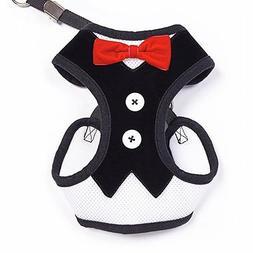 Black w/ Red Bowtie Gentleman Suit Boy Dog Tuxedo Harness Ve