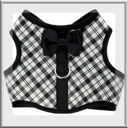 Top Paw Black White Classic Plaid soft vest dog harness XXS