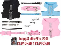 Top Paw Bling Harness Vest, Collar, OR Leash Pink Black Blue
