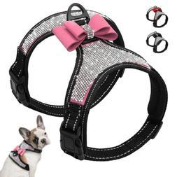 Bling Rhinestone Dog Harness Nylon Reflective Small Medium D