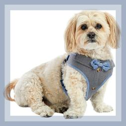 Top Paw Handsome Blue Chambray Bow Tie Comfort Dog Harness