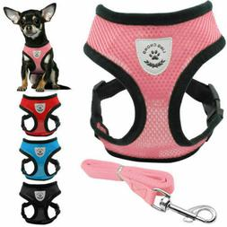 Breathable Mesh Small Dog Cat Pet Harness Leash Collars Pupp