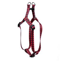Yellow Dog Design Buffalo Plaid Red Step-in Dog Harness, Med