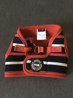 CATSPIA Cat Harness Striped Red Navy Blue White, Yellow Bell