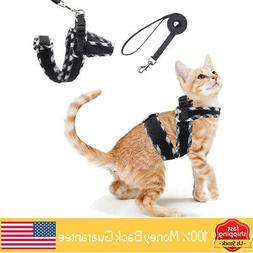 Cat Harness Vest with Leash with Double Adjustable Chest Str