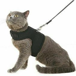 Cat Harness with Leash Adjustable Soft Mesh Best Walking Bla