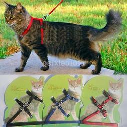 Cat Walking Lead Leash Adjustable Nylon Harness Collar For P