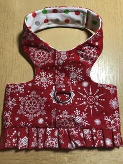 Christmas Red Silver Snowflake Handmade Dog Harnesses Size S