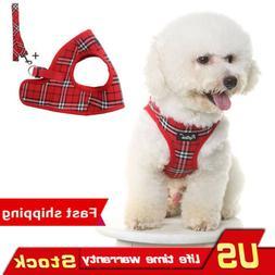 Classic Plaid Dog Vest Collar With Leash Adjustable Fashiona