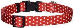 Yellow Dog Collar Large 18X28-New Red Polka Dot