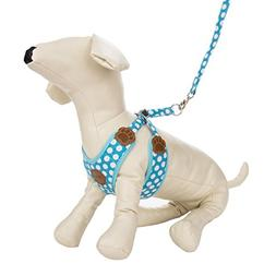 CueCue Pet Choke Free Harness with Leash, Medium, Blue Polka