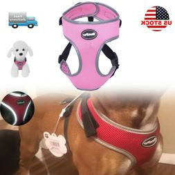 Cute Pink Dog Harness Reflective Vest  No-Pull Adjustable Ha