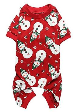 Cute Snowman Xmas Pet Clothes for Dog Pajamas Soft Christmas