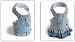 Denim Dog Harness by Doggles Blue Jean Style Size Choice Sty