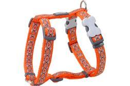 Red Dingo Designer Dog Harness, Large, Snake Eyes Orange