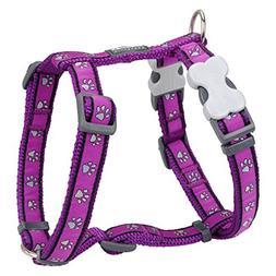 Red Dingo Designer Dog Harness, Large, Purple Pawprints
