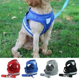 Dog Cat Pets Walking Harness with Lead Adjustable Reflective