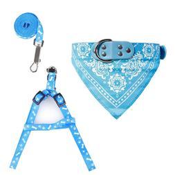 Dog Cat Small Puppy Harness Collar Leash Set Bandana Scarf L