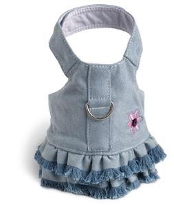 Doggles Dog Harness Dress with Jean Fringe, Blue, Extra Smal