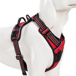 SGODA Dog Harness 3M Reflective Vest with Handle Medium Red