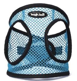 dog harness turquoise blue step in netted