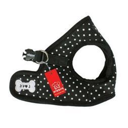 dog puppy harness soft vest dotty black