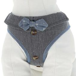 Top Paw® Fashion Blue & Gray Bowtie Comfort Dog Vest Harnes