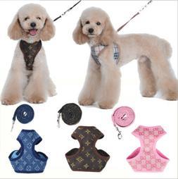 Floral Breathable Pet Dog Vest Harness Leather Harnesses Set