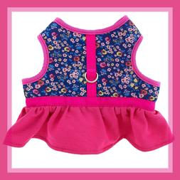 Top Paw Flower Padded Top & Hot Pink Ruffle Skirt Dog Harnes