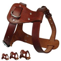 Brown Large Leather Dog Harnesses Heavy Duty Adjustable Vest
