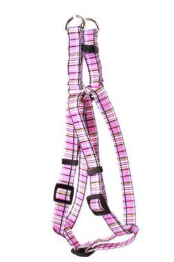 Yellow Dog Design Step-In Harness, Small, Tartan Pink