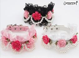 Hot fashion Flower lace pet dog <font><b>collar</b></font> w