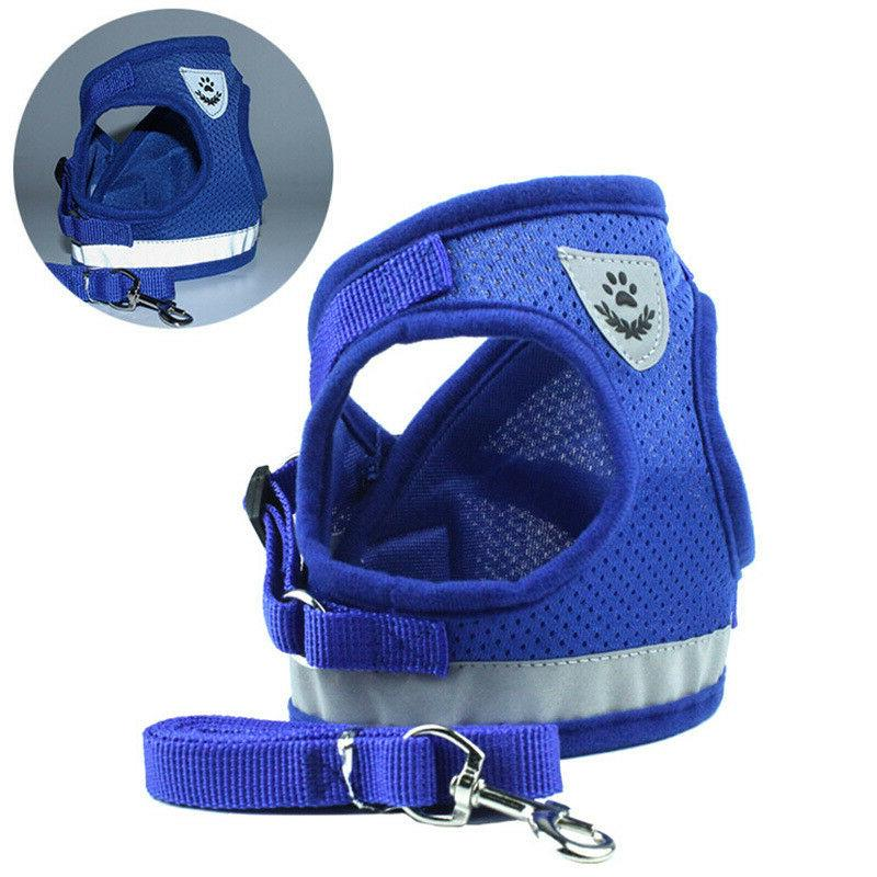 Small Dog mesh harness Collar with soft chest XXS-L