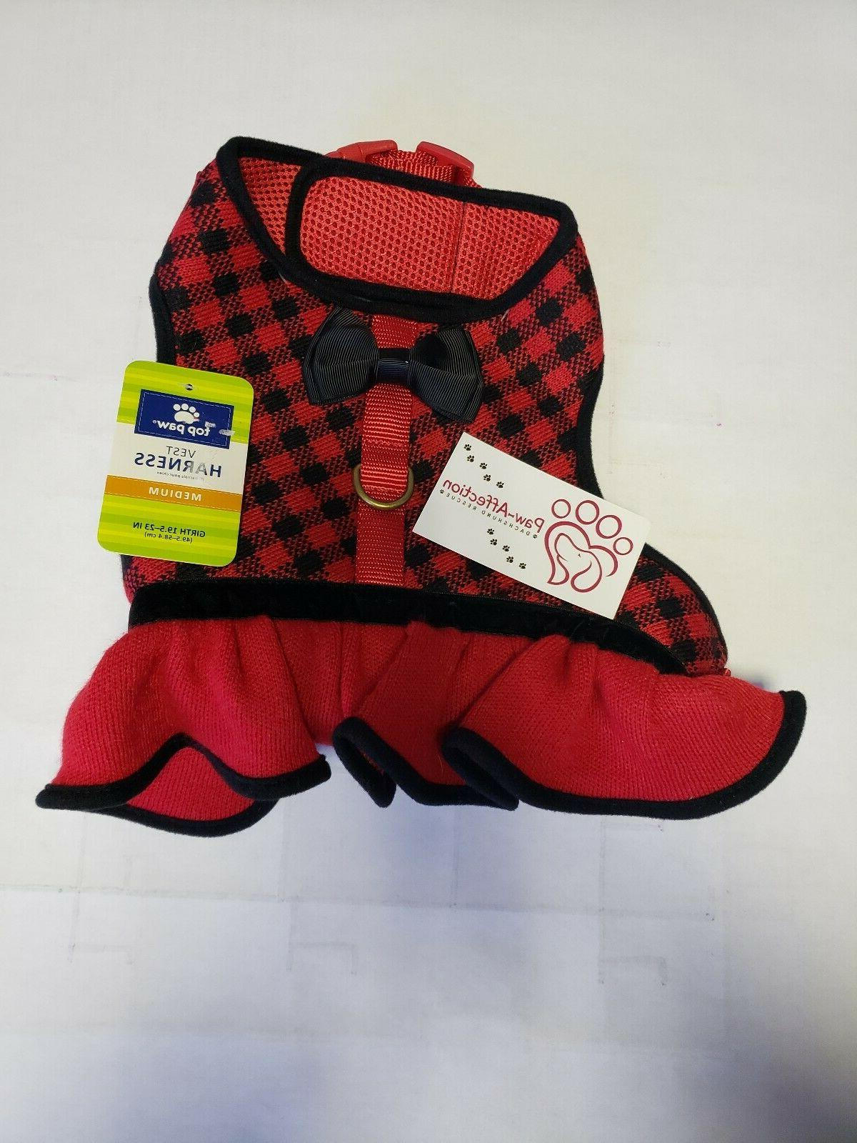 Top Paw Black & Red Check Knit Soft Padded Dog Vest/harness