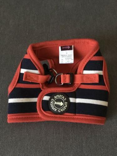 cat harness striped red navy blue white