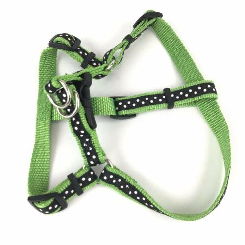 Top Paw Dog Harness Green/Blk Polka Dot Size Small Fits Girt