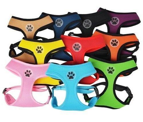 dog puppy soft mesh harness paw design