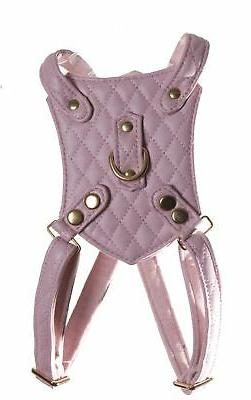 DUKES AND DUTCHESS PINK QUILT HARNESS FOR GIRL DOGS FAUX LEA