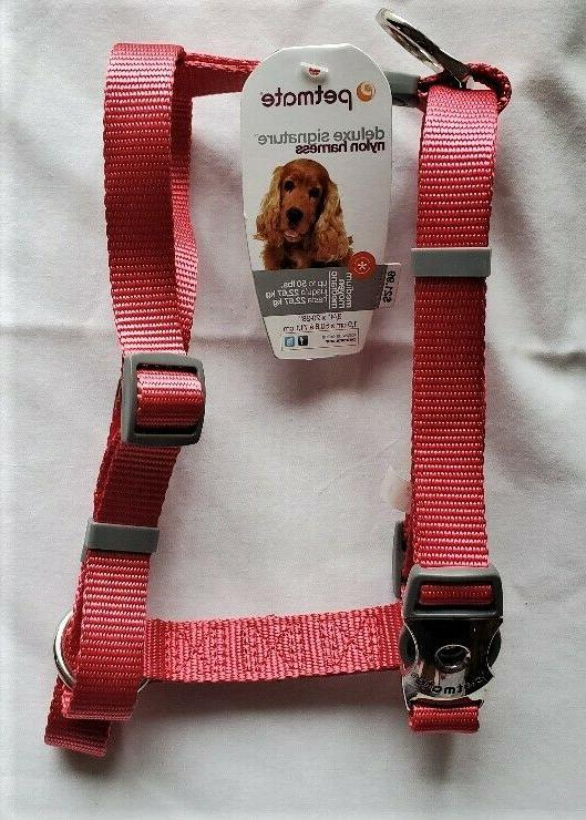 medium deluxe signature nylon dog harness pewter