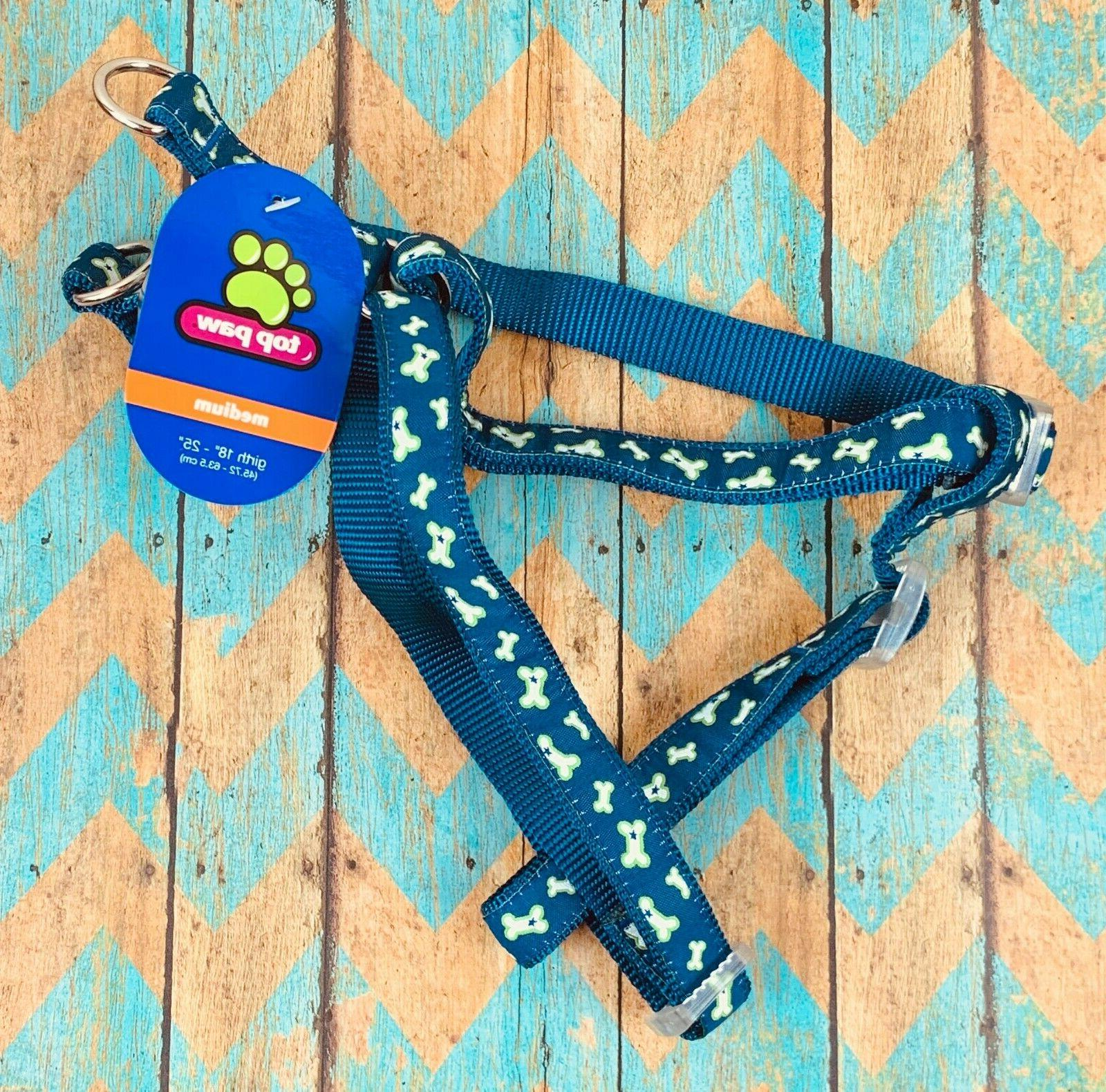 medium dog harness blue bone print