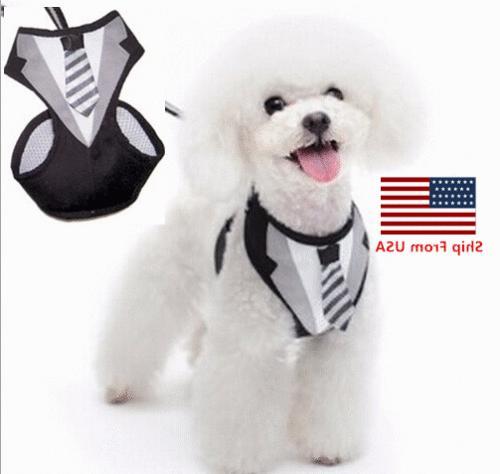 pet clothes suit with leash tux dog