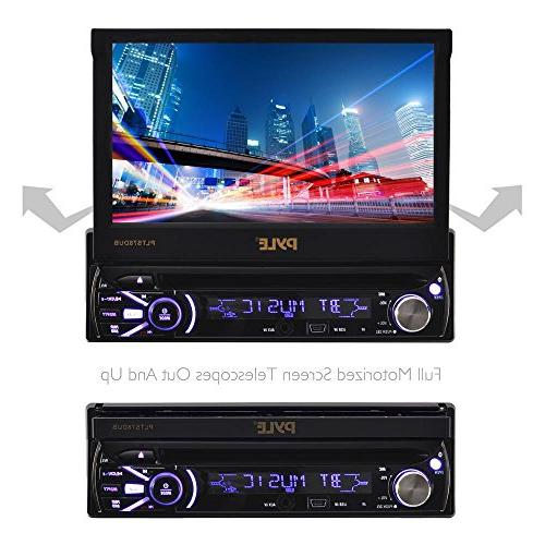 Single DIN Unit Receiver - In-Dash Car Stereo Multi-Color Touchscreen Video System with for Music & Pyle PLTS78DUB