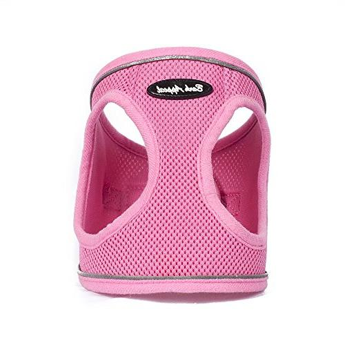 reflective mesh step in harness medium pink