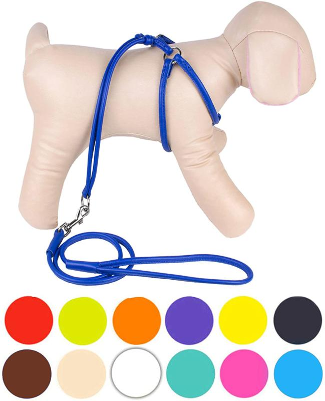 Collardirect Rolled Leather Dog Harness Small Puppy Step-In