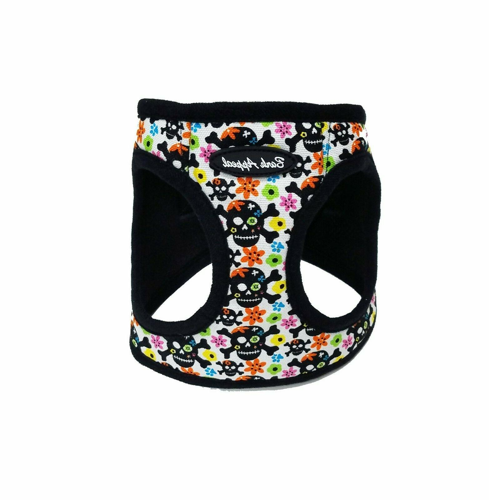 skull and flowers canvas mesh dog step